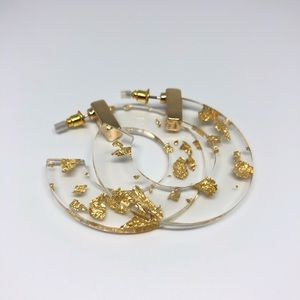 Gold clear hoop with gold shimmer earrings